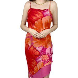 VTG Positive Attitude Pink Floral Midi Dress